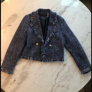 Sz sm Zara blue and cream tweed boucle coat